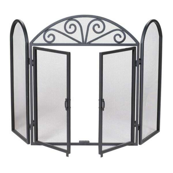 Uniflame 3 Fold Black Wrought Iron Screen With Scrolls S 1184