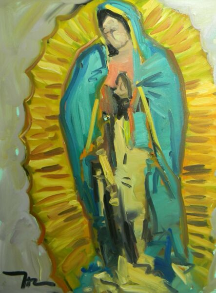JOSE TRUJILLO OIL PAINTING IMPRESSIONIST LADY OF GUADALUPE VIRGIN MARY 30X40 COA
