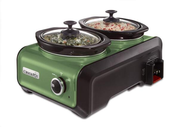 Crock Pot Hook Up Double Oval Connectable Entertaining System 1 Quart Green