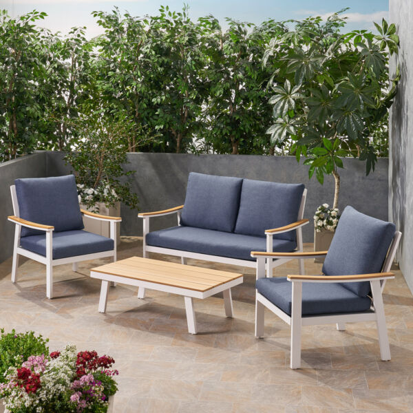 Mathias Outdoor 4 Piece Aluminum and Faux Wood Chat Set with Cushions