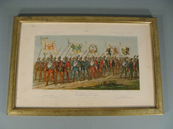 Engraving Antique IV Centenaire Battle of Morat Abbeys City of Bernese