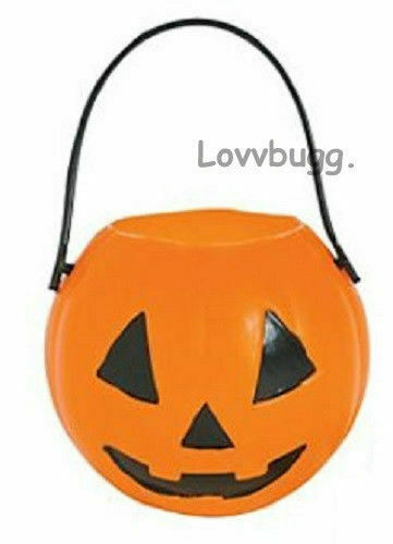Halloween Pumpkin Treat Bucket Pail for American Girl or Wellie Doll Accessory