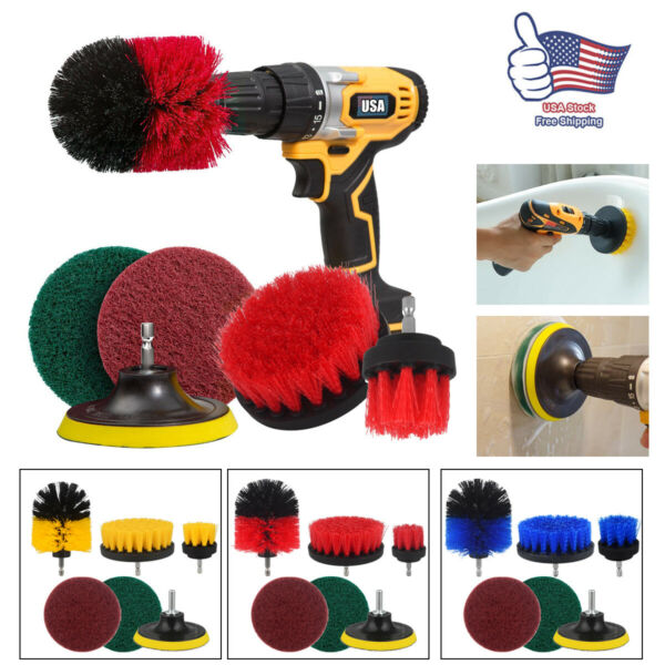 6 Pcs Drill Brush Attachment Set All Purpose Power Scrubber Cleaning Cleaner Kit