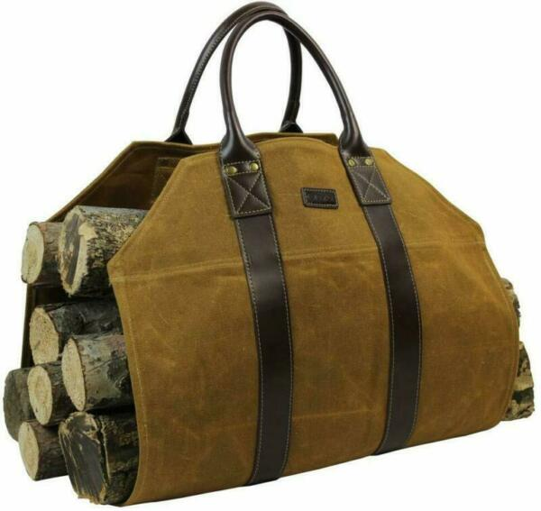 Firewood Log Carrier Bag Waxed Canvas for Fireplace Stove Accessories In-Outdoor