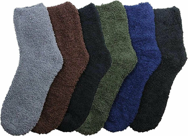6 Pair of Women Plush Fuzzy Soft Slipper Socks Solid Colors Cozy and Warm