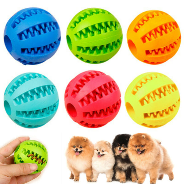 Durable Rubber Ball Chew Pet Dog Puppy Teething Dental Healthy Treat Clean Toys