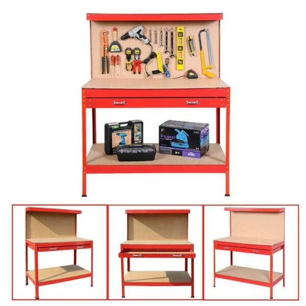 New Red Work Bench Tool Storage Steel Tool Workshop Table W Drawer  Peg Board
