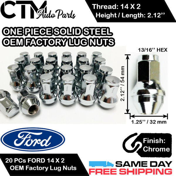 20 FORD OEM FACTORY CHROME 14X2 LUG NUTS FOR F-150250350 EXPEDITION EXCURSION