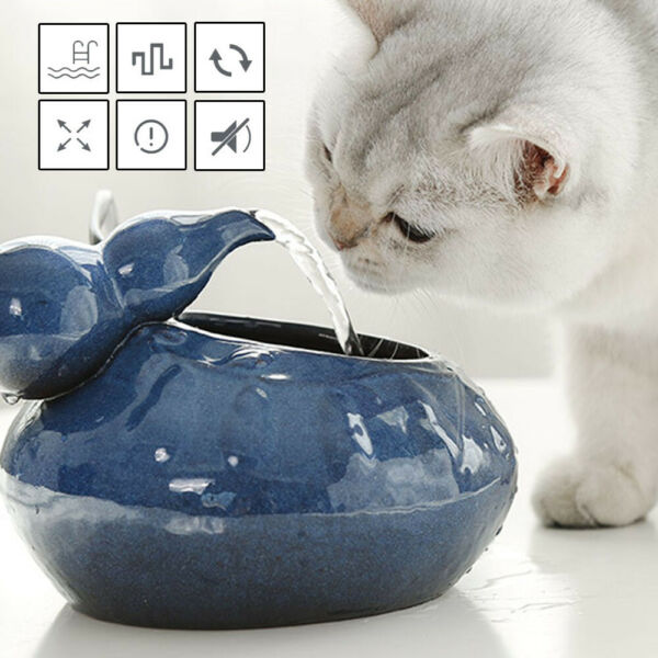 Pet Dog Cat Ceramic Drinking Fountain Automatic Eletric Water Drinking Dispenser