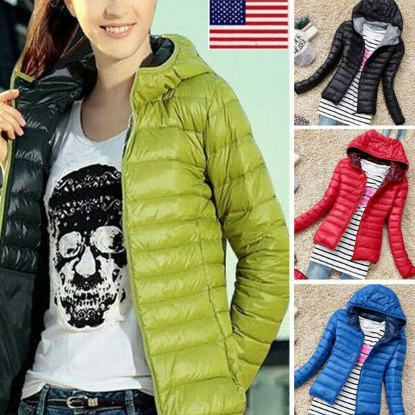 Women Winter Quilted Padded Puffer Bubble Hooded Zip Lightweight Coat Jacket OCC