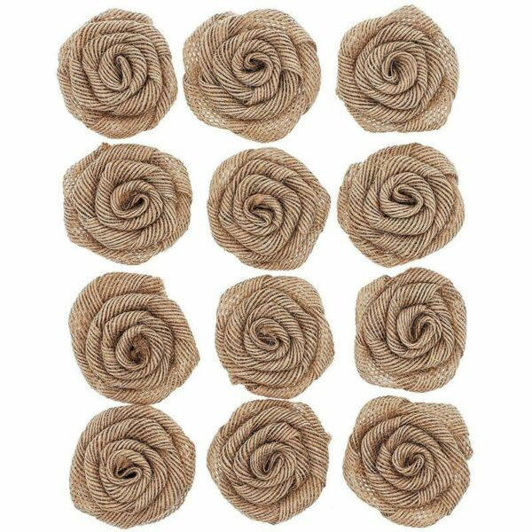 12 Pack Burlap 2 Inch Rose Flower Heads for DIY Crafts and Rustic Wedding Decor