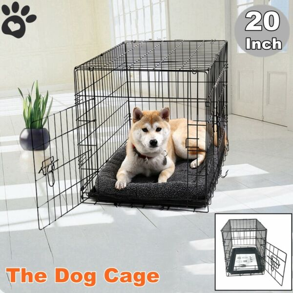 Small Cute Dog Pet Cat Crate Cage Kennel Wire Metal Folding Door Tray Portable
