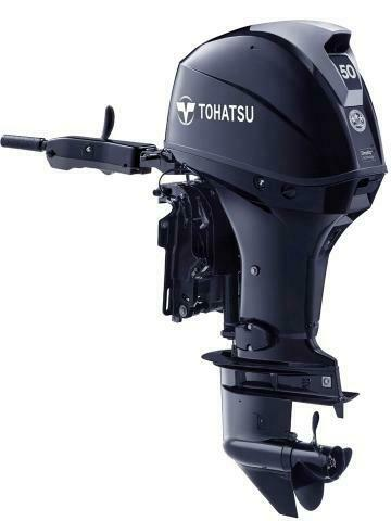 NEW Tohatsu 50hp EFI Outboard 4 Stroke Tiller Handle Power Tilt Long Shaft