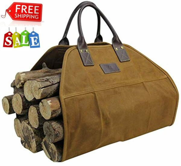 Waxed Canvas Log Carrier Tote Bag40