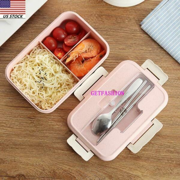 Lunch Box 3 Grid Leakproof Portable Bento Microwave Safe Food Storage Containers