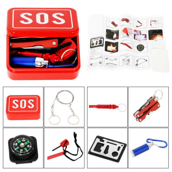 7 in 1 SOS Emergency Tactical Survival Equipment Kit Outdoor Gear Tool Camping