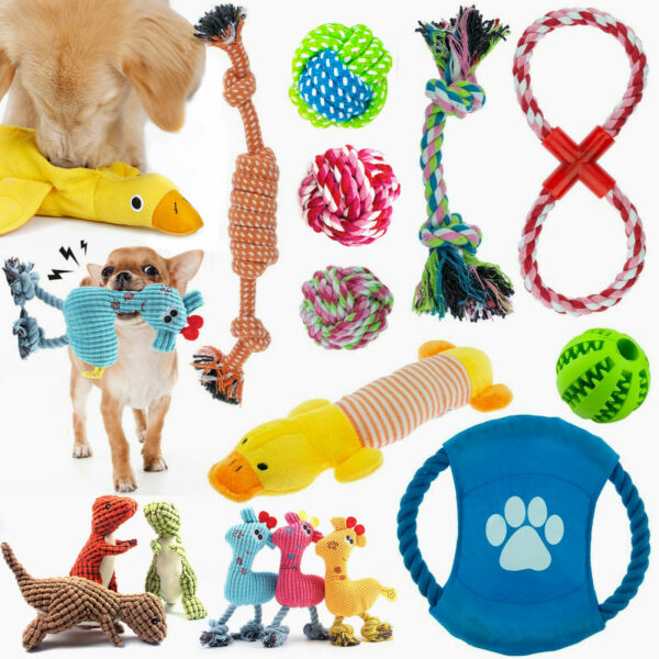 Dog Toys Pet Puppy Chew Squeaker Squeaky Plush Sound Tooth Training Cleaning US