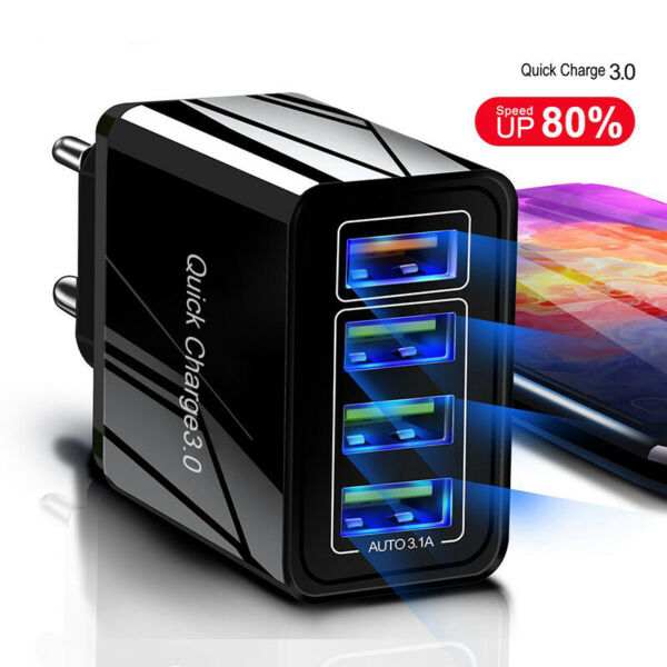 4 Port Fast Quick Charge QC3.0 USB Hub Wall Charger Power Adapter US EU Plug ~LY