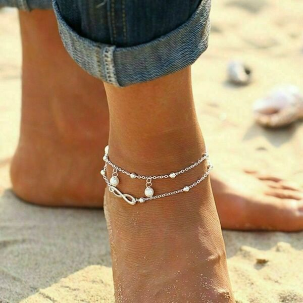Womens Stainless Steel Double Layer Charm Love Ring Bracelet Chain Anklet Gift