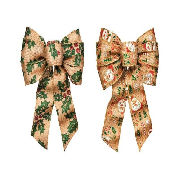 Holiday Trims  Christmas Bow  Bow  Assorted  Burlap  8.5 inch  1 pk