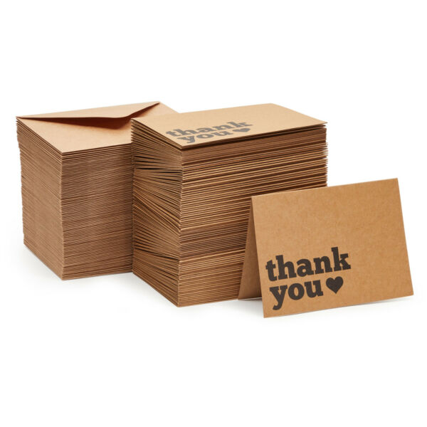 120 Pcs Thank You Cards Bulk Box Set Kraft Rustic Thank You Notes and Envelopes