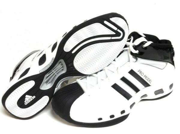 Mens Adidas Pro Model S Pro 058898 White Black 2007 DS Basketball Sneakers Shoes