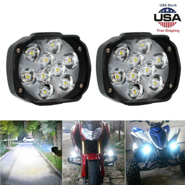 2Pcs Universal Car SUV Motorcycle LED Waterproof Lights Fog Light Headlight Lamp