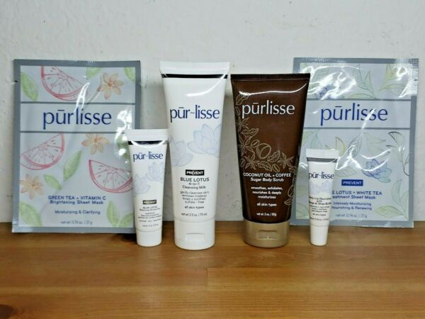 Purlisse Blue Lotus 4-in-1 Cleansing Milk 6 Pieces Skin Care Gift Set w Bag