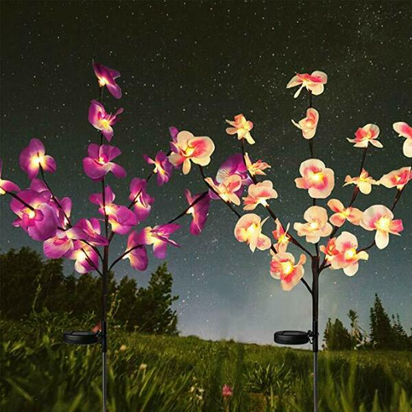 2PC Solar Garden Lights Orchid Flowers Stake Lamp For Yard Outdoor Patio Decor $23.99