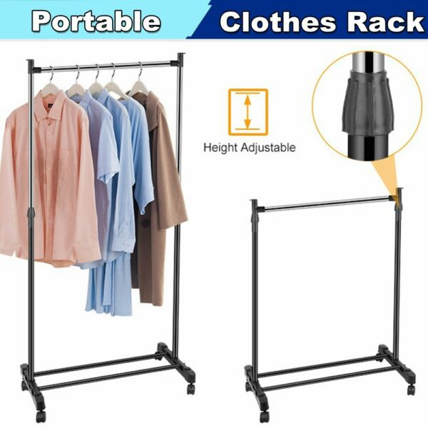 Adjustable Portable Metal Clothes Garment Storage Rack Rolling Clothing Stand