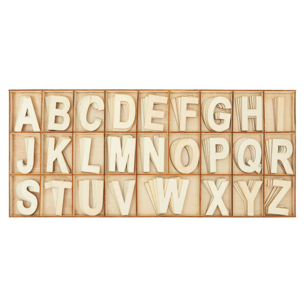 104 Piece Set Wooden Letters with Storage Tray 4 Piece Each Letter Natural