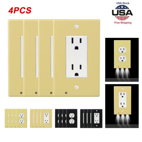 4 Pack Outlet Wall Plate Led Night Lights Cover Duplex With Ambient Light Sensor