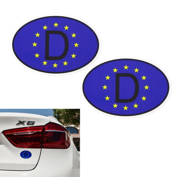 Pair 3.75quot; 95mm Europe D Stickers For European Car Windshield Bumper Fender