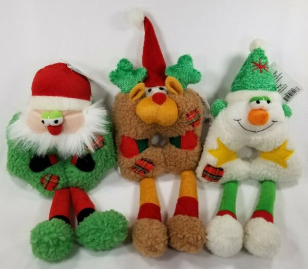 Festive Friends Holiday Christmas Squeaker Santa Snowman Reindeer dog toy B16 $9.99