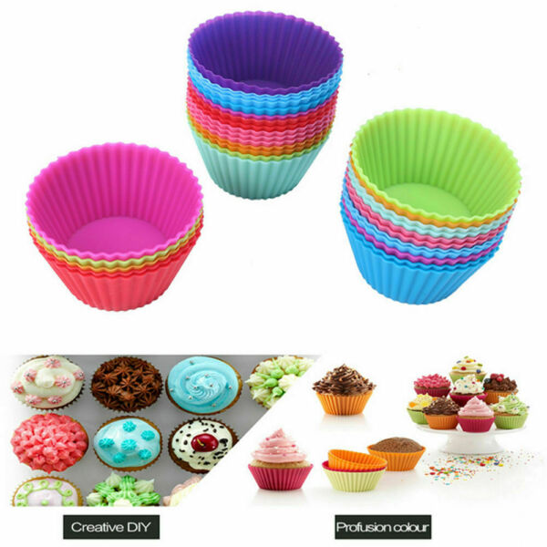 Silicone Cupcake Liners Muffin Cake Molds Kitchen Baking Cups 12 24 36 Count US