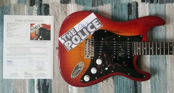 THE POLICE COMPLETE X3 SIGNED GUITAR STING ANDY SUMMERS & COPELAND WITH JSA COA