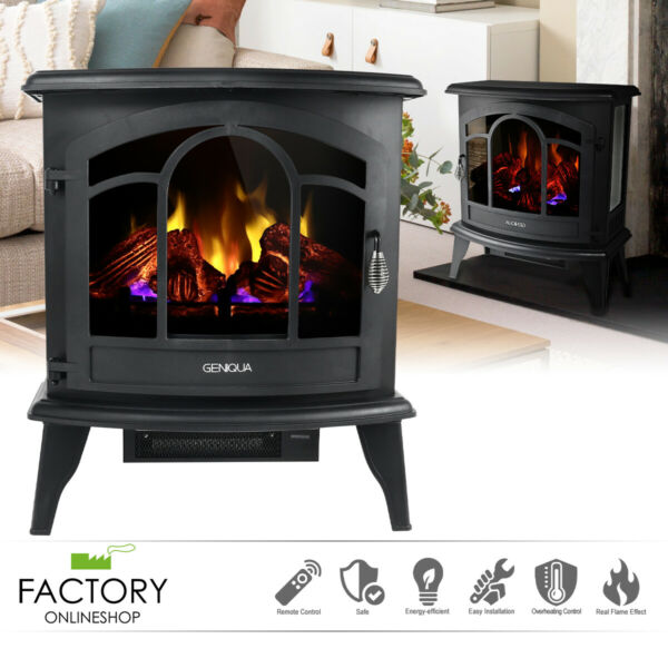20quot; Electric Fireplace Heater Freestanding Remote Adjust Log LED Flame Stove