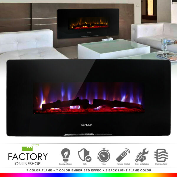 1400W Heat Wall Mount or Standing Electric Fireplace w Remote MultiColor LED