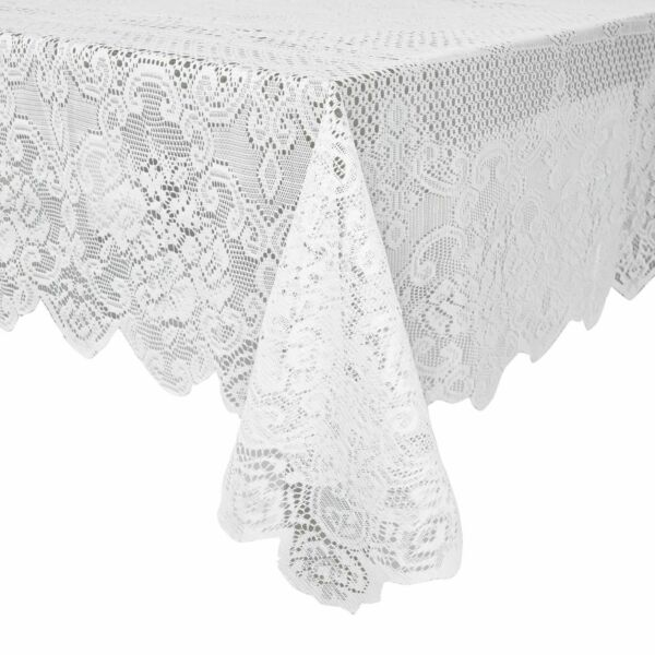 White Lace Rectangular Tablecloth Elegant Floral Table Cloth for Parties 60quot;x97quot;