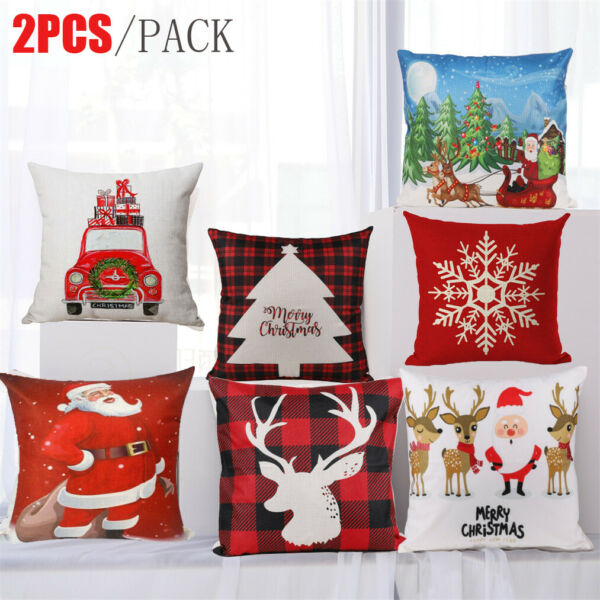 Set 2pc Christmas Throw Cushion Cover Pillow Case Zipper Closure Xmas Home Decor