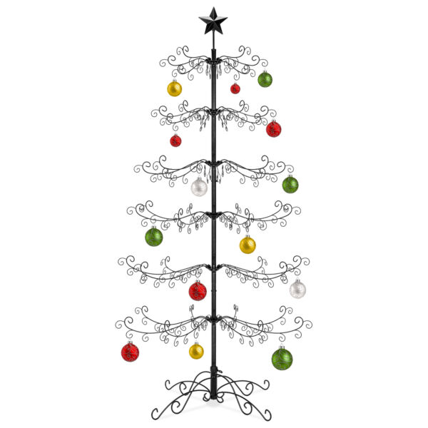 BCP 6ft Wrought Iron Ornament Display Christmas Tree w Easy Assembly Stand