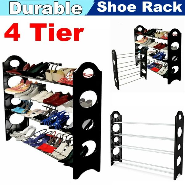 4 Tier Metal Shoe Rack Organizer Shelf Stand Wall Bench Closet Storage Holder