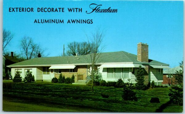 Chrome Advertising Postcard FLEXALUM Aluminum Awnings Hunter Douglas c1960s