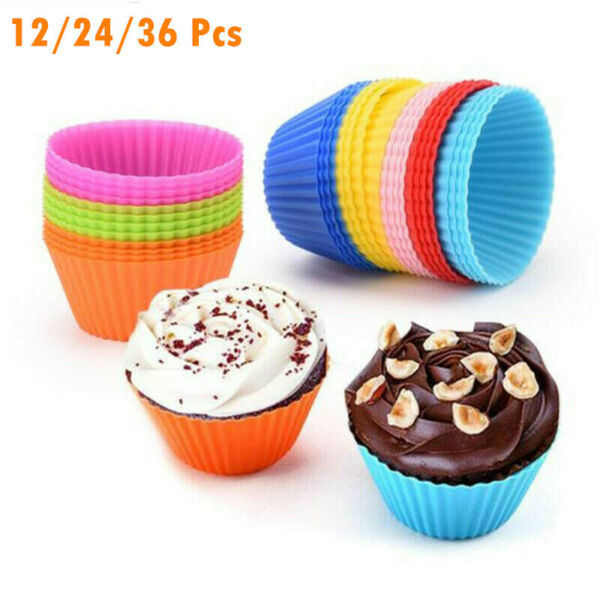 Silicone Muffin Cups Baking Molds Reusable Cupcake Liners Nonstick 12 24 36 Pack