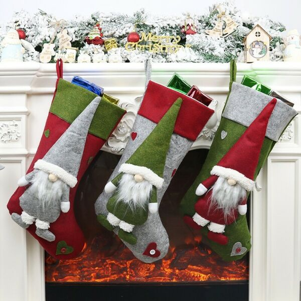 Xmas Hanging Pendant Fireplace Christmas Stockings Holder With 3D Gnome Doll US