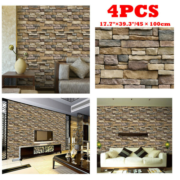 3D Brick Stone PVC Self Adhesive Wall Stickers Panel Wallpaper Living Room E