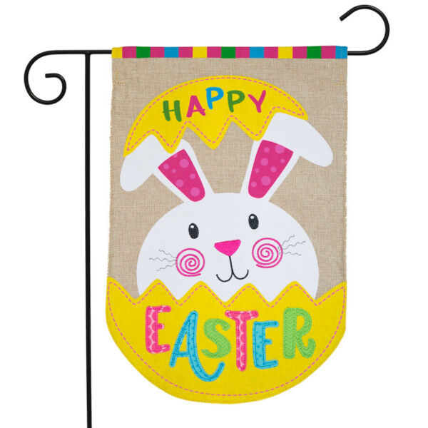 Easter Bunny Egg Burlap Garden Flag Holiday 12.5quot; x 18quot; Briarwood Lane