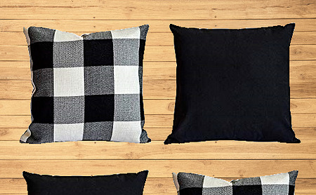 Buffalo Plaid Outdoor Covers Throw Pillows for Couch Black amp; White 18quot;x18quot; 4 Pk $27.38