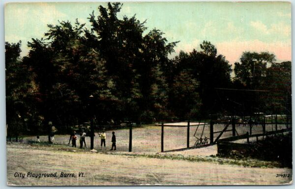 Barre Vermont Postcard quot;City Playgroundquot; Boys Playing Bicycle Park Scene c1910s $1.50