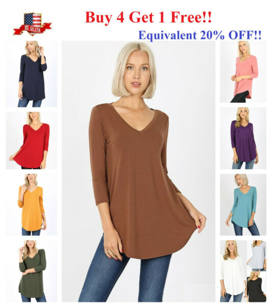 Womens 3 4 Sleeve T Shirt V Neck Casual Basic Tunic Top Long Loose Blouse S 3X